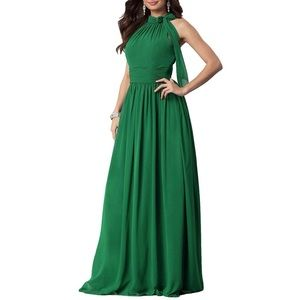 Chiffon A Line Halter Maxi Evening Dress